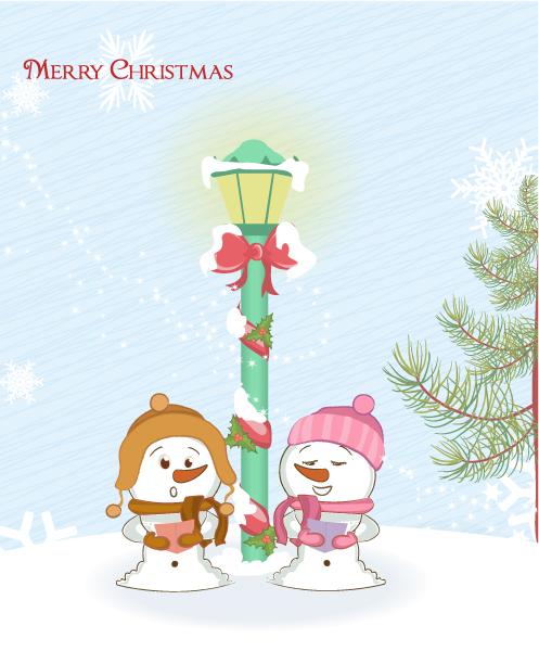 Snowman Vector Image Snowmen With Street Light Vector Illustration 4 10 2011 115