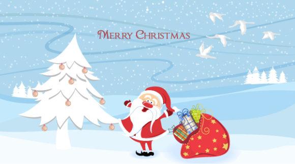 Tree Vector Art: Santa With Tree Vector Art Illustration 5 10 2011 101