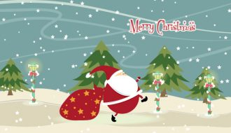 Santa With Trees Vector Illustration Vector Illustrations tree