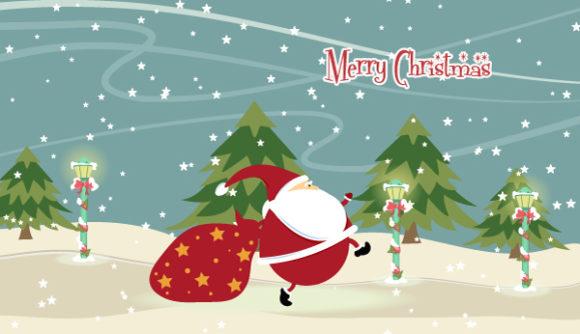 Tree, Santa, Winter, With, Illustration Vector Santa With Trees Vector Illustration 5 10 2011 102