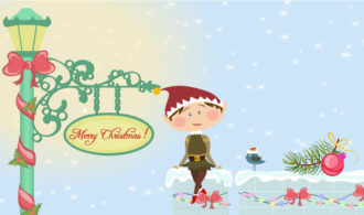 Vector Christmas Card With Elf Vector Illustrations ball