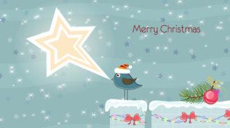 Vector Christmas Card With Bird Vector Illustrations star