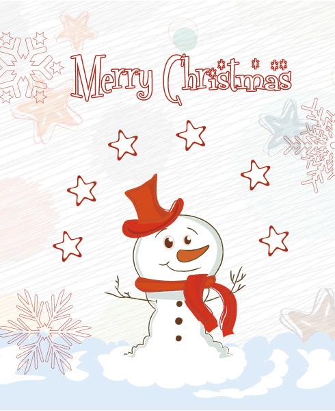 Christmas, With, Creative, Snowman Vector Vector Christmas Card With Snowman 5