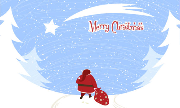 Illustration, Abstract-2, Illustration Vector Graphic Santa With Trees Vector Illustration 5