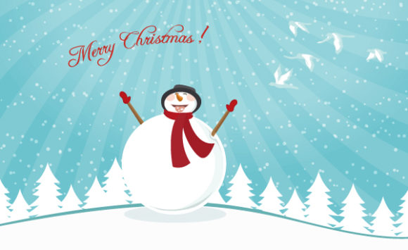 Astounding Christmas Vector Graphic: Vector Graphic Christmas Card With Snowman 5 10 2011 108