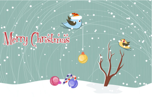 Vector Christmas Greeting Card Freebies tree