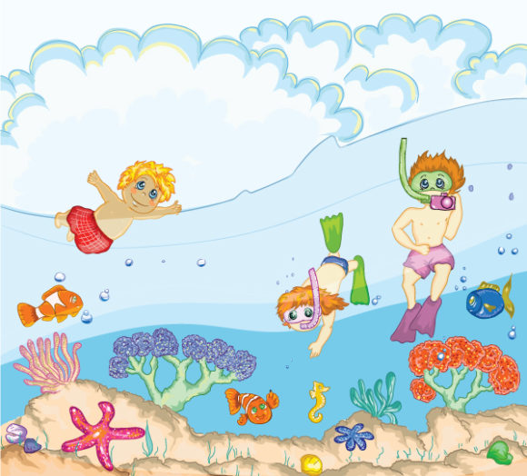 Gorgeous Swimming Vector Artwork: Kids Swimming Vector Artwork Illustration 5