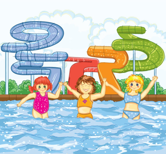 Astounding Playing Vector Art: Kids Playing In The Swimming Pool Vector Art Illustration 5