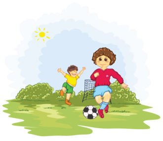 Kids Playing Soccer Vector Illustration Vector Illustrations vector