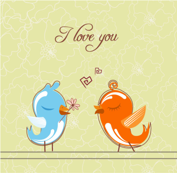 Lovely Illustration Vector Background: Love Birds Vector Background Illustration 5