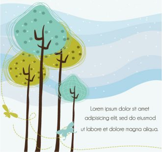 Vector Butterflies With Trees Vector Illustrations tree