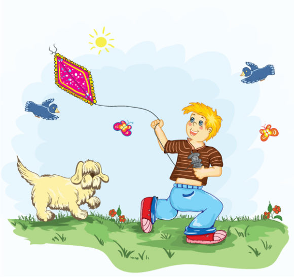 With, Illustration Vector Kid With Kite Vector Illustration 6 7 2011 102