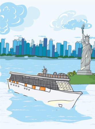 Cartoon New York Background Vector Illustration Vector Illustrations building