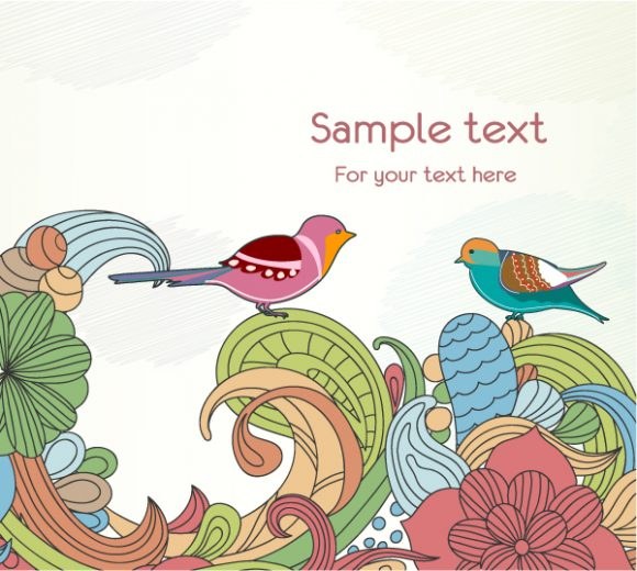 Free Birds With Floral Vector Illustration 7 9 2011 102