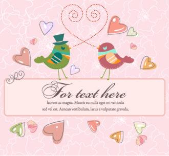 Love Birds With Frame Vector Illustration Vector Illustrations vector