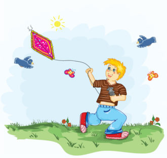 Kid With A Kite Vector Illustration Vector Illustrations vector