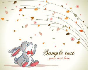 Vector Bunny With Floral Background Vector Illustrations floral