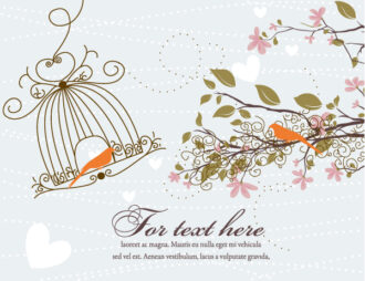 Love Bird With Floral Vector Illustration Vector Illustrations floral
