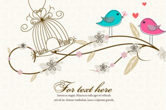 Love Birds Vector Illustration Vector Illustrations floral