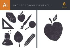 Back To School Elements Vector Set 1 Vector packs broom