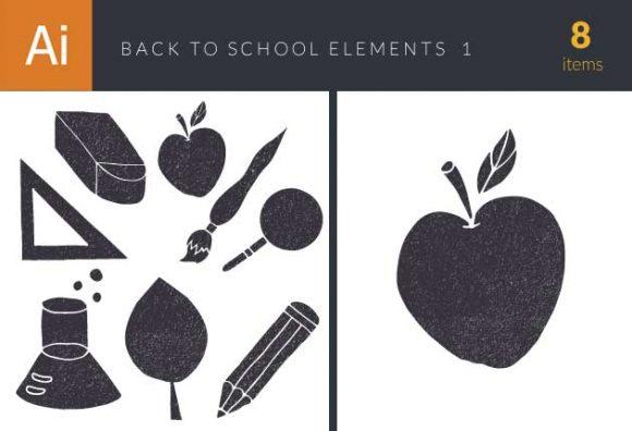 Back To School Elements Vector Set 1 Vector packs broom