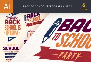 Back To School Typography Vector Set 1 Vector packs flat