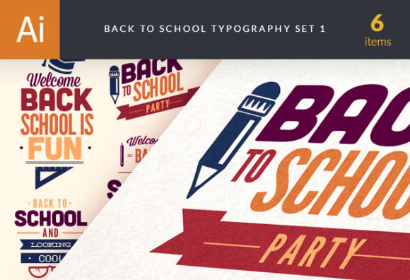 Back To School Typography Vector Set 1 Vector packs flat
