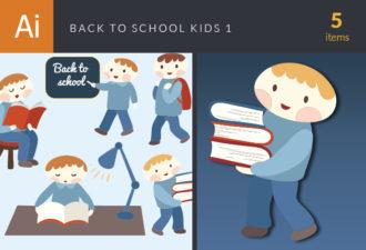 Back To School Children Vector Set 1 Vector packs boy