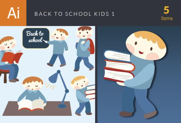 Back To School Children Vector Set 1 5