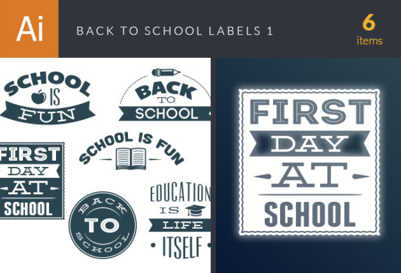 Back To School Labels Vector Set 1 Vector packs flat
