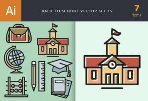 Back To School Vector Set 15 Vector packs building