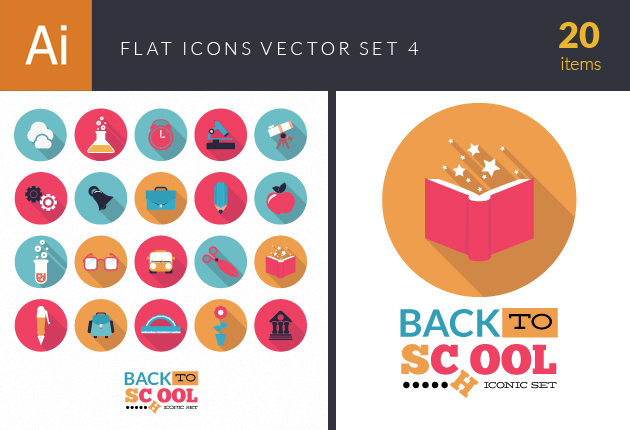 Flat Icons Set 4 Vector packs building
