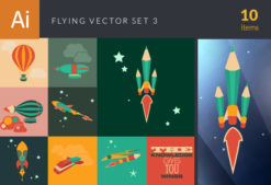 Flying Vector Set 3 Vector packs broom