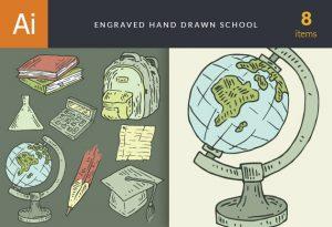 Hand-Drawn School Vector Set 1 Vector packs vintage