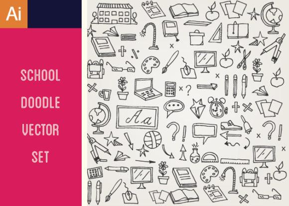 School Doodle Vector Set 1 DesignTnT School Doodle Vector Set 1 vector small