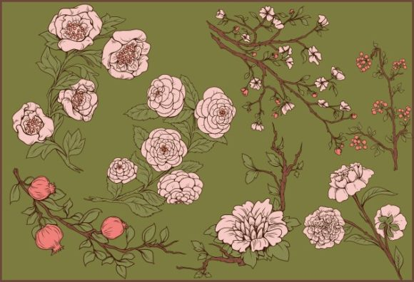 Japanese Flowers Pack Flowersi 2