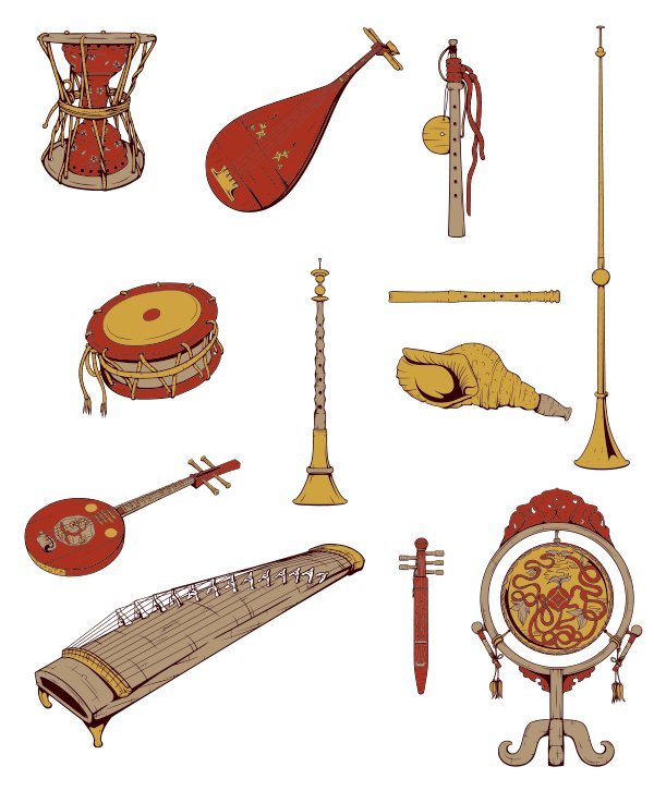 Japanese Musical Instruments Vector Pack Musical instrumets preview 2 1