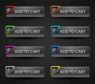 Glossy Add To Cart Buttons Set Vector Illustration Scenes vector