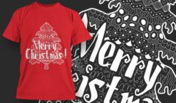 Merry Christmas Free T-Shirt Design 1386 Freebies tree