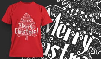 Merry Christmas Free T-Shirt Design 1386 Freebies tree