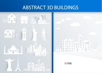 3D Abstract Buildings Vector Vector packs statue