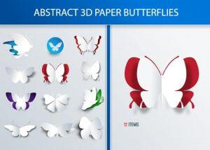 3D Butterflies Vector Vector packs nature
