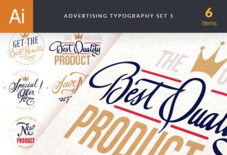 Advertising Typography Vector Set 1 Vector packs flat