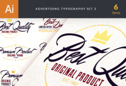 Advertising Typography Vector Set 2 Vector packs flat