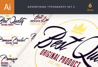 Advertising Typography Vector Set 2 Vector packs flat