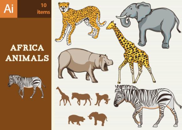 Africa Animals Vector Set 1 designtnt africa animals vector set 1 vector small