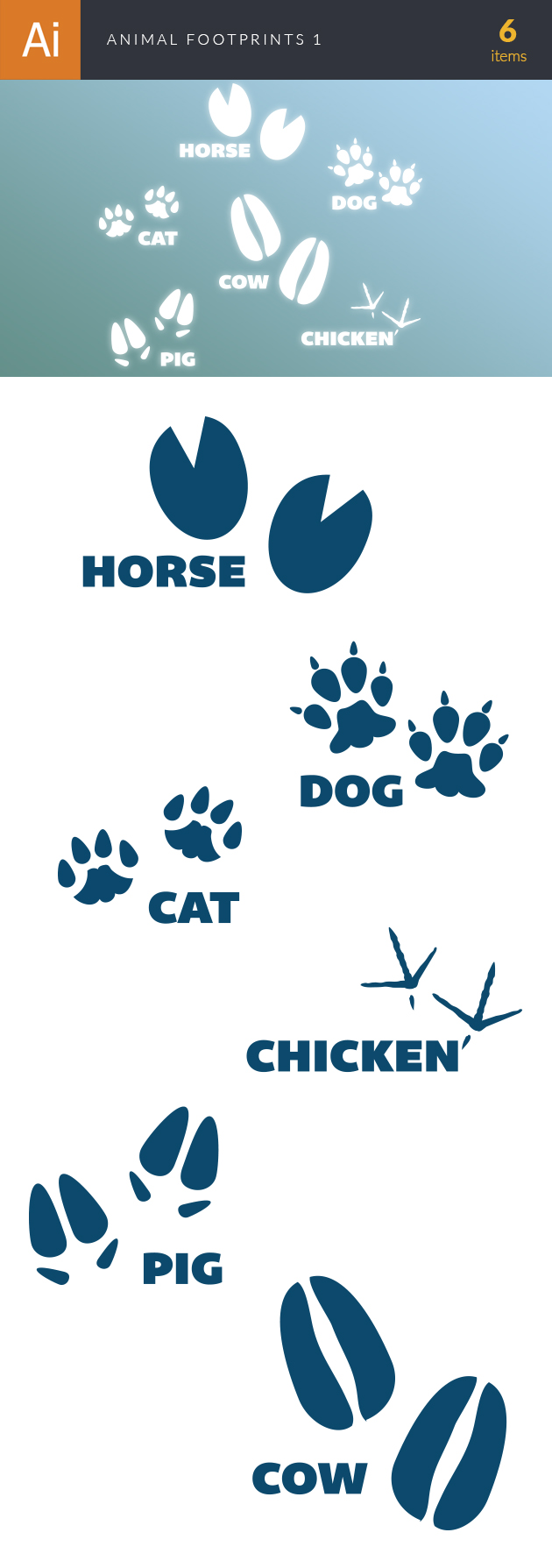 Animals Footprints Vector Set 1 designtnt animals footprints vector set 1 vector large