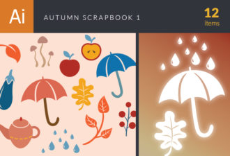 Autumn Scrapbook Elements Vector Set 1 Vector packs umbrella