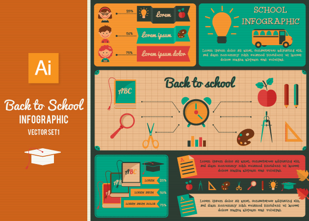 Back To School Infographic Set 1 designtnt back to school infograpic set 1 vector smal