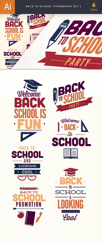 Back To School Typography Vector Set 1 6